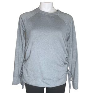 Gray Longsleeve Top with Ruching on Sides